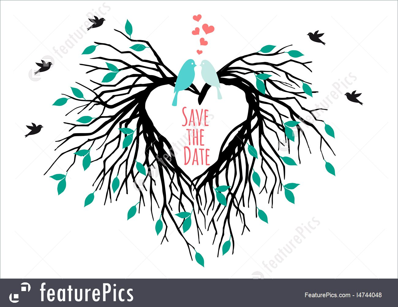 1300x1001 Heart Wedding Tree With Birds, Vector Stock Illustration I4744048