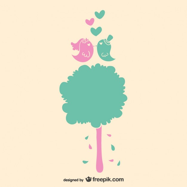 626x626 Love Birds And Tree Wedding Invitation Vector Free Download