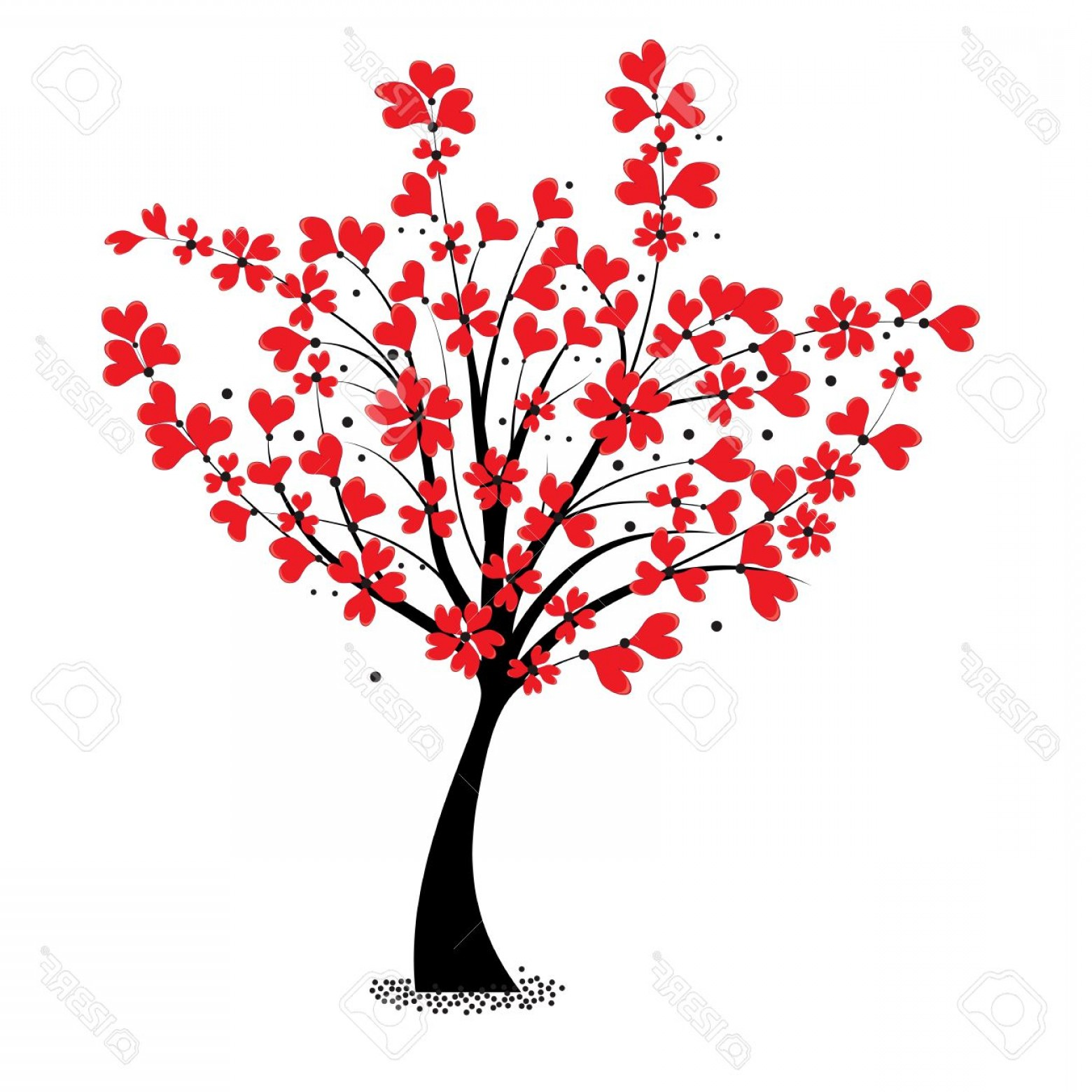 1560x1560 Photovalentine Tree Vector Flower Shaped Of Heart Love Card