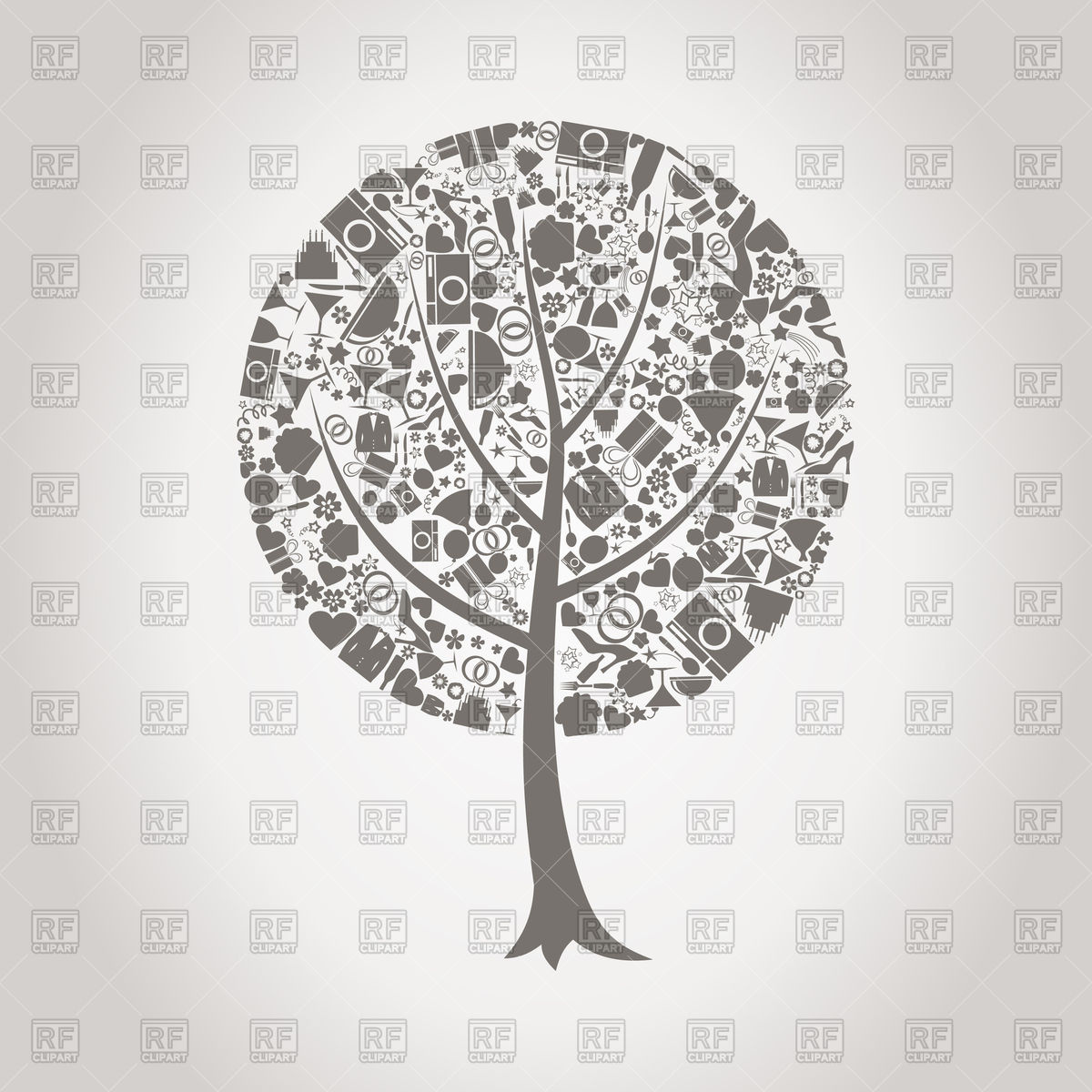 1200x1200 Tree Made Of Wedding Icons Vector Image Vector Artwork Of Design