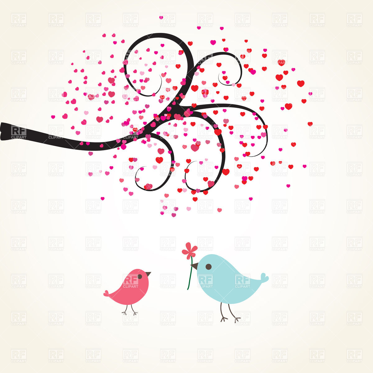 1200x1200 Two Cartoon Birds Under Romantic Tree Vector Image Vector