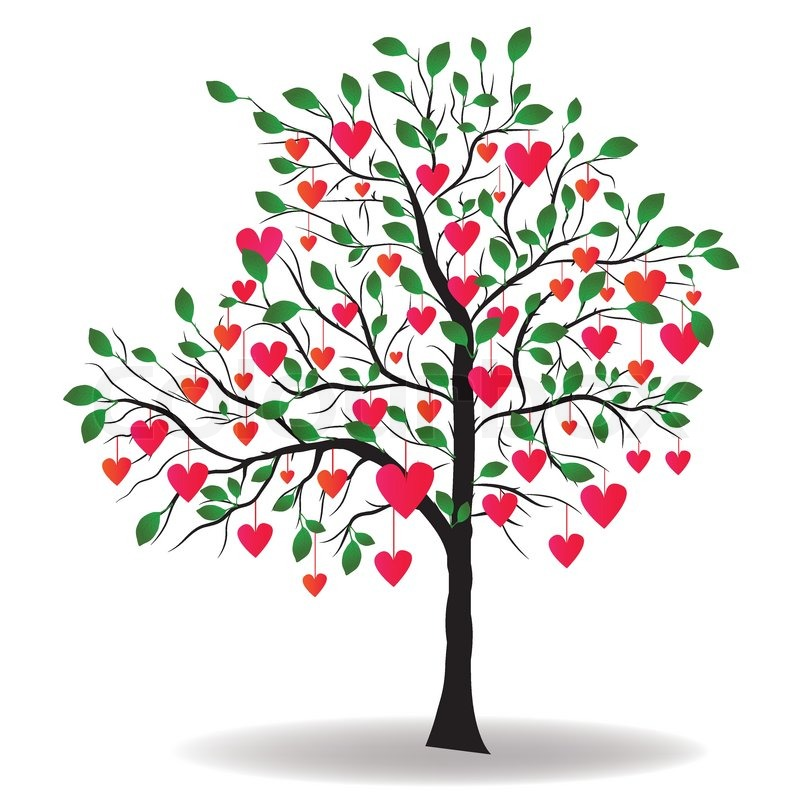 800x800 Valentine Day Tree With Leaf Like Heart Vector Illustration