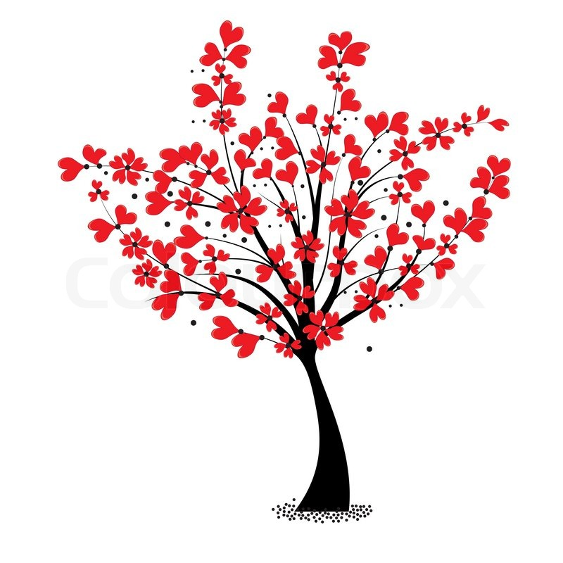 800x800 Valentine Tree Vector, Flower Shaped Of Heart. Love Card. Wedding