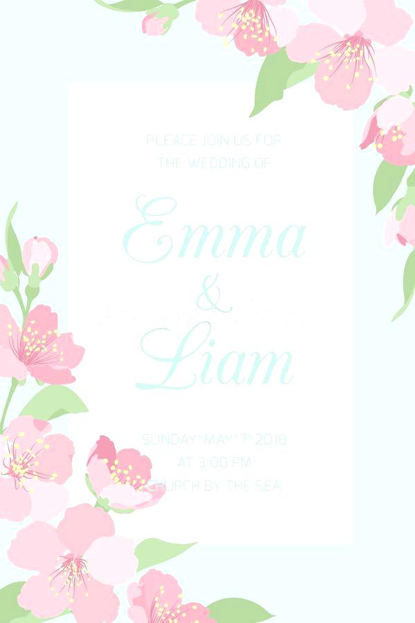 600x900 Wedding Invitation Template Cherry Blossom Stock Vector Free Palm