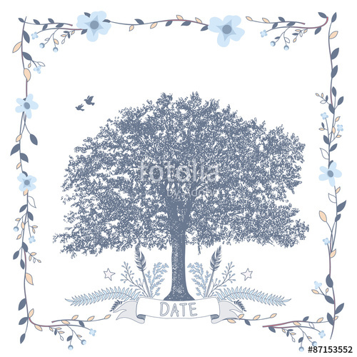 500x500 Wedding Seating Chart. Includes Tables List, Tree, Birds And