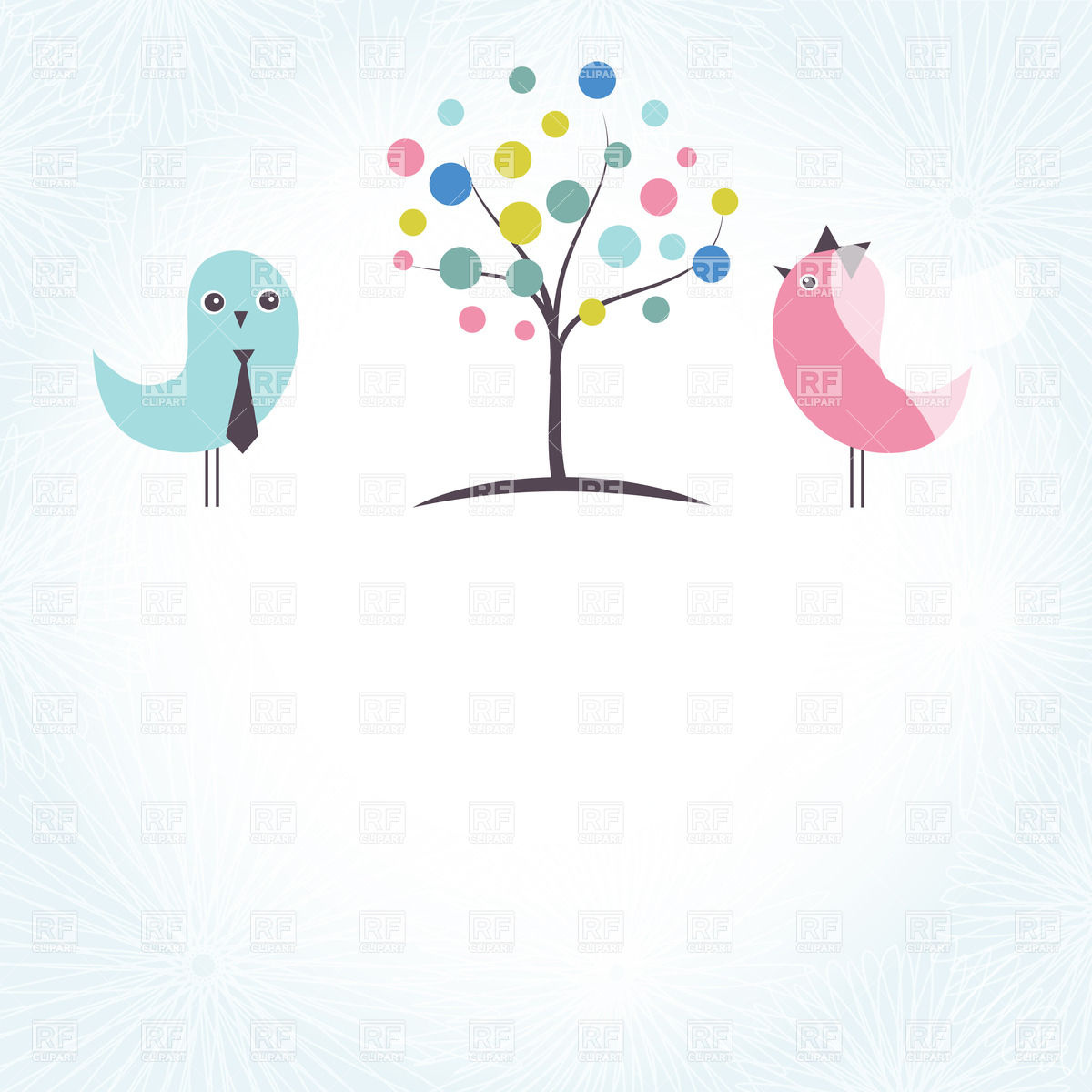 1200x1200 Wedding Invitation With Two Cute Birds And Stylish Tree Vector