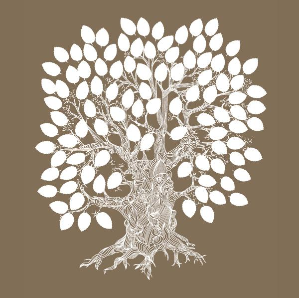 600x597 Creative Wedding Signature Tree Vector [Ai]