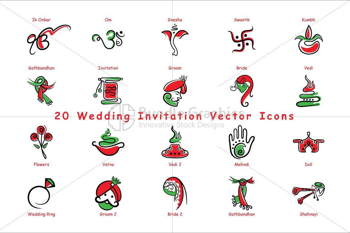 1158x772 Indian Wedding Invitation Icons Vector Pack Of 20