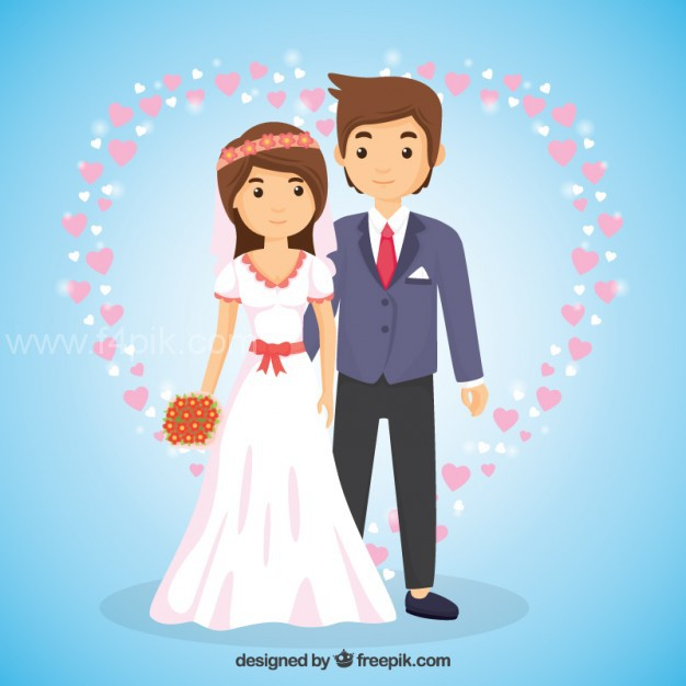 626x626 Vector ] Wedding Couple In Love In Cartoon Style Free Download
