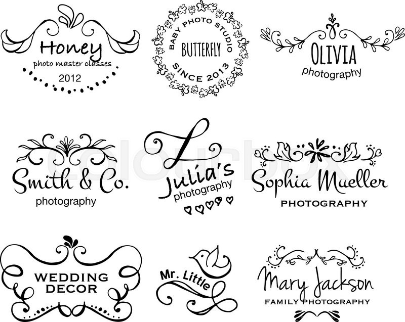 800x637 Vector Collection Of Photography Hand Drawn Logo Templates