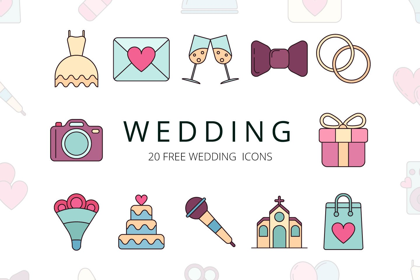 1440x960 Wedding Vector Free Icon Set