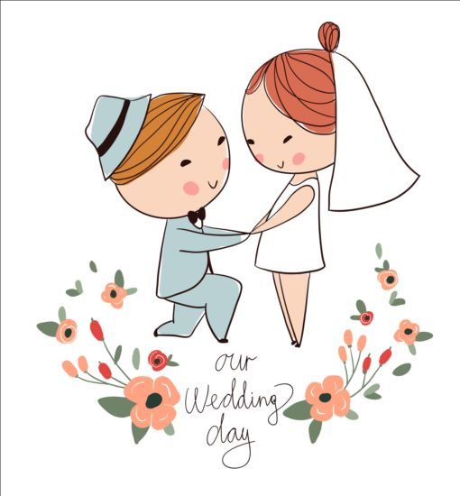 510x550 Cute Wedding Card Hand Drawn Vector 16 Free Download