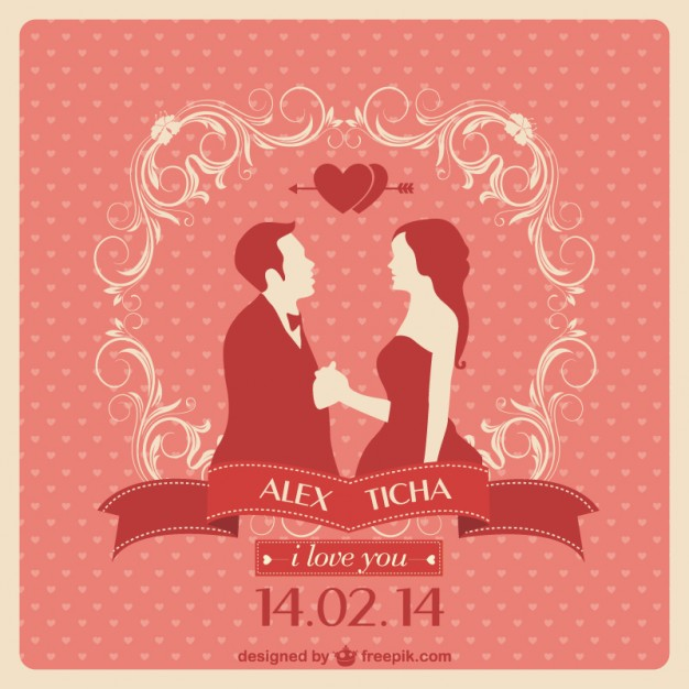 626x626 Red Wedding Invitation With A Couple In Love Vector Free Download