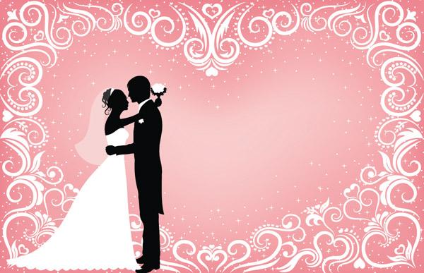 600x387 People Wedding Silhouette Vector Free Vector 4vector