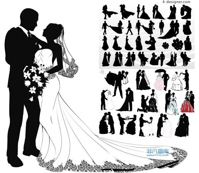 650x567 4 Designer Wedding Figures Silhouette Vector Free Download