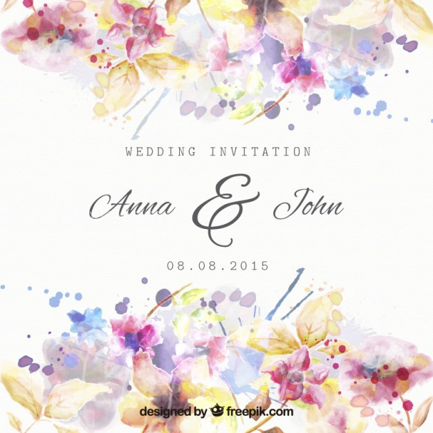 626x626 Vector ] Floral Wedding Invitation In Watercolor Style Free
