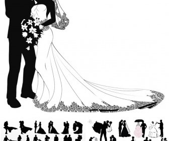 336x280 Wedding Couple Silhouettes Vector 2018 Free Download