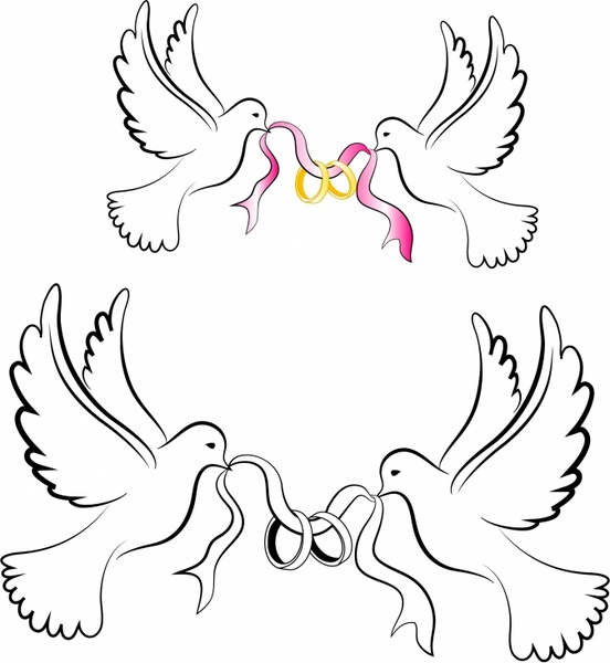 552x600 White Wedding Doves With Rings Free Vector In Adobe Illustrator Ai