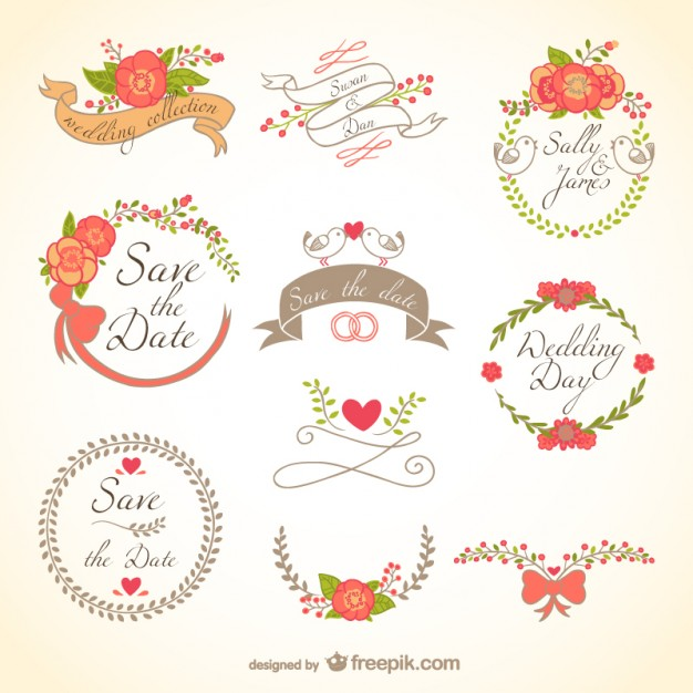 626x626 Floral Wedding Badges Vector Free Vector Download In .ai, .eps