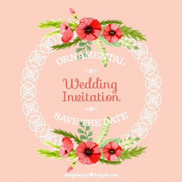 626x626 Ai] Ornamental Rounded Frame Wedding Card Vector Free Download