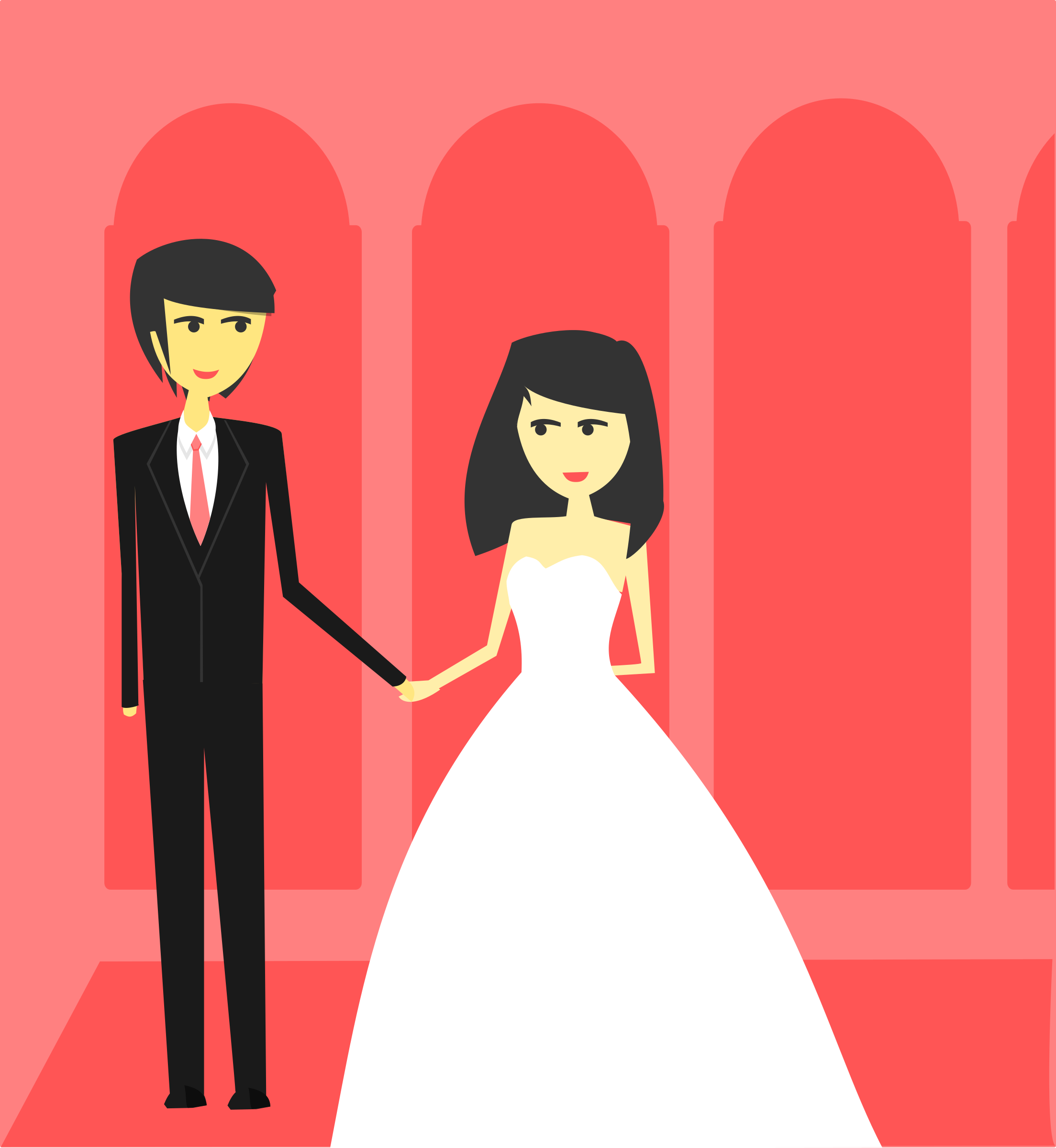 2207x2400 Bride And Groom Wedding Vector Graphics Image