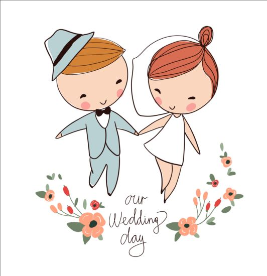 532x550 Cute Wedding Card Hand Drawn Vector 15 Free Download
