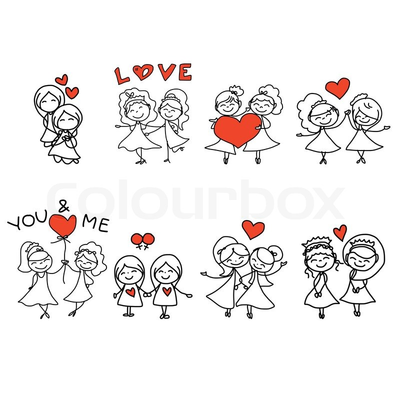 800x800 Hand Drawing Cartoon Concept Happy Same Sex Couple Wedding Stock