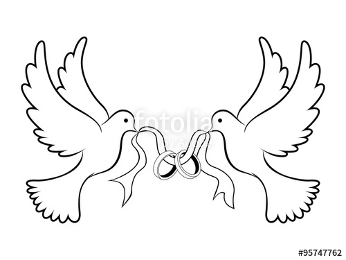 500x375 Wedding Dove With Ring Black Stock Image And Royalty Free Vector