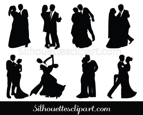 500x400 Bride And Groom Silhouette Dancing Couple Vector Silhouettes Vector