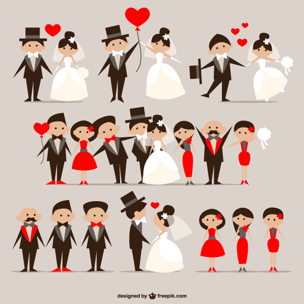 600x600 Cartoon Wedding Couple Vector Illustrator Pack Free 123freevectors