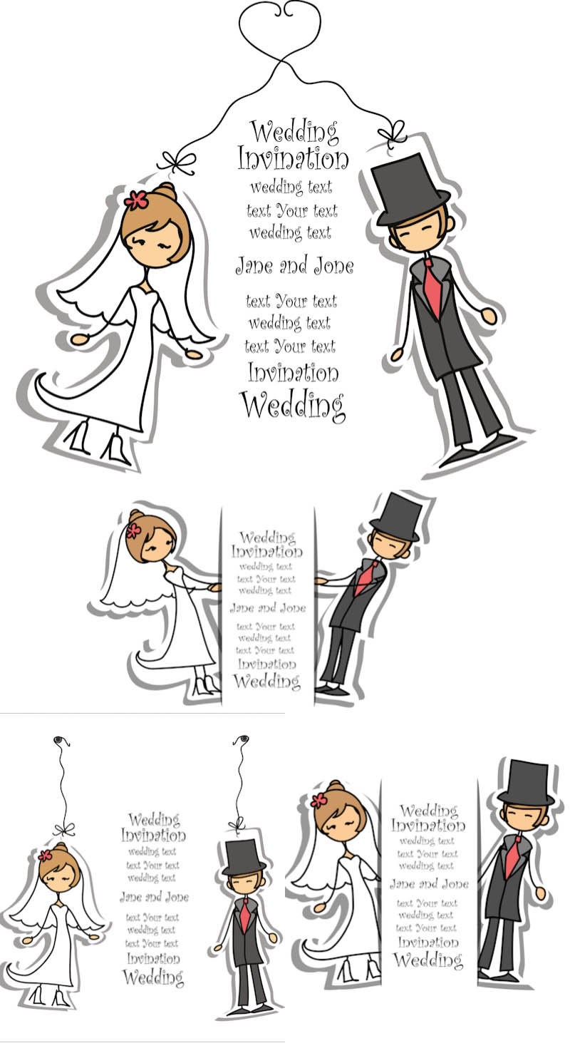 800x1463 Cartoon Wedding Invitation With Bride Groom Vector Free Vectors