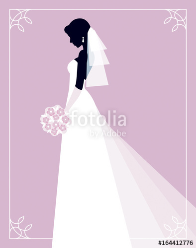 394x500 Silhouette Of A Bride On A Pink Background Profile In Her Wedding