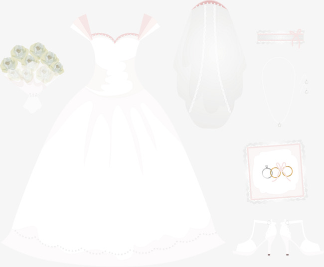 650x536 Vector Hand Painted Wedding Veil And Wedding Rings, Vector, Hand
