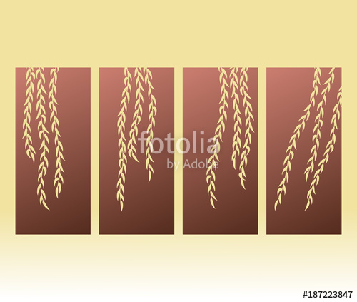 500x423 Laser Cut. Panel Weeping Willow. Vector Stock Image And Royalty