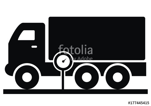 500x354 Vehicle Weighing, Truck And Weight, Black Silhouette, Vector Icon