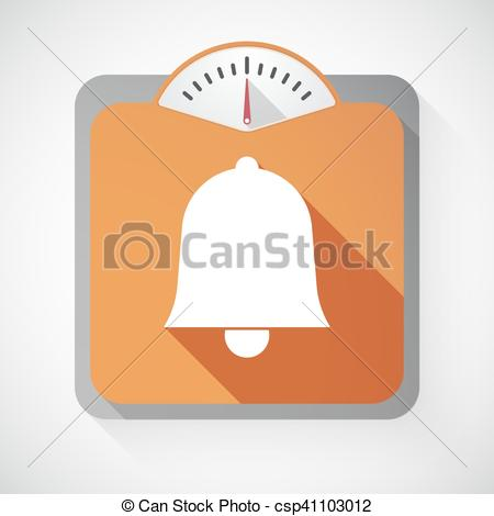 450x470 Isolated Long Shadow Body Weight Scale With A Bell.... Vector Clip