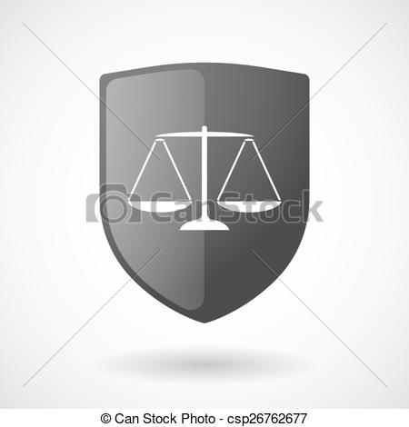 450x470 Shield Icon With A Weight Scale. Illustration Of A Shield Icon