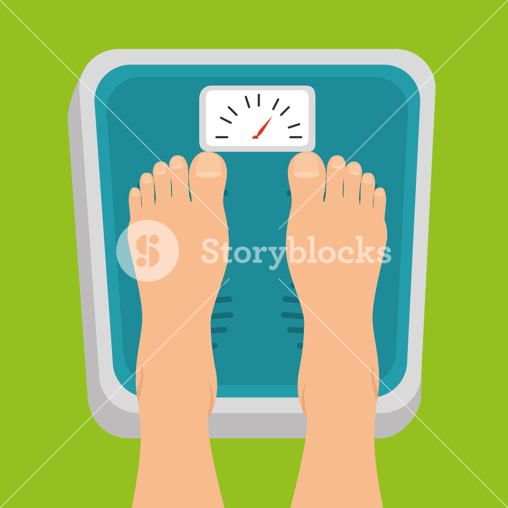1000x1000 Pregnant Women Feet Standing On Weight Scale Vector Illustration