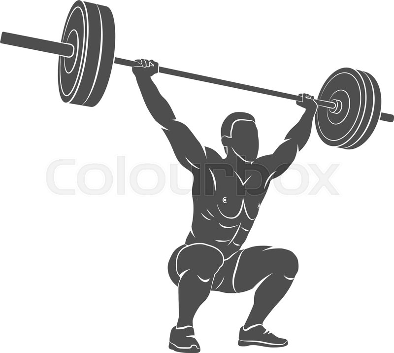 800x716 Strong Man Lifting Weights Powerlifting Weightlifting. Vector