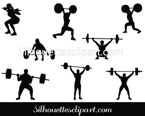 500x400 Weight Lifting Silhouette Vector Graphics Download Fitness
