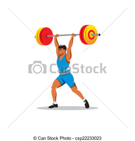 450x470 Weightlifting Vector Sign. Strong And Handsome Man Lifting Weights