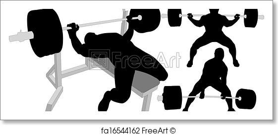 561x273 Free Art Print Of Powerlifting Vector Silhouettes. Powerlifting
