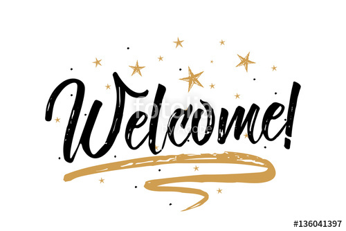 500x334 Welcome Card, Banner.beautiful Greeting Scratched Calligraphy