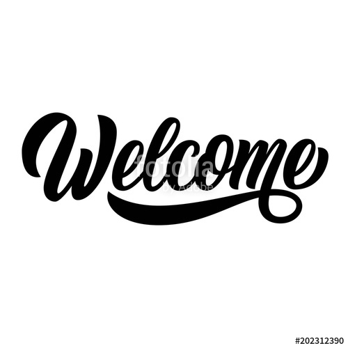 500x500 Welcome Hand Lettering, Black Ink Brush Calligraphy, Isolated On