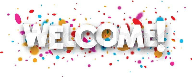 800x321 Welcome Paper Banner With Color Drops. Vector Illustration