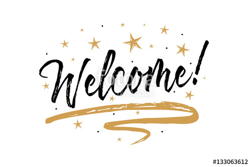 500x334 Welcome Sign.beautiful Greeting Card Scratched Calligraphy Black