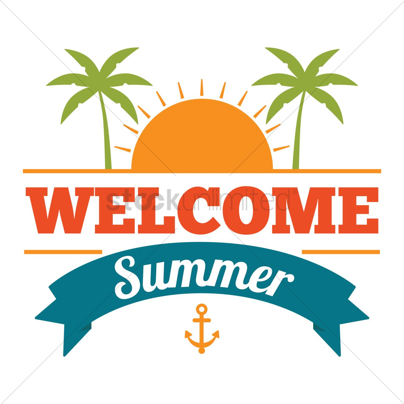 1300x1300 Welcome Summer Design Vector Image