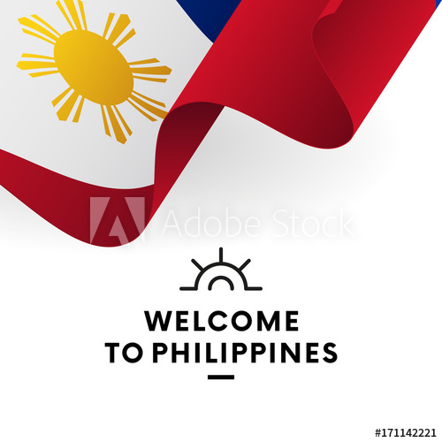 500x500 Welcome To Philippines. Philippines Flag. Patriotic Design. Vector