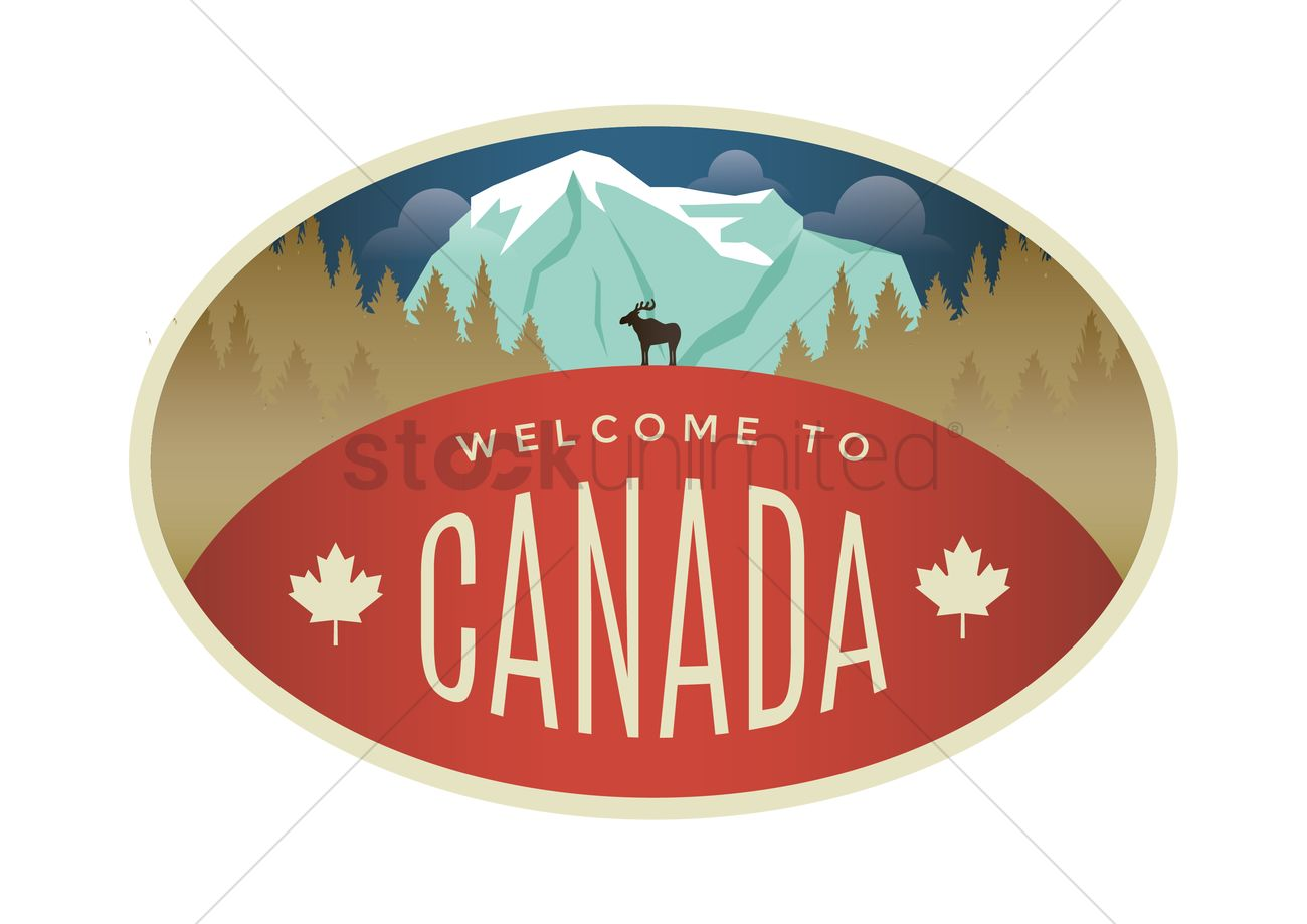 1300x919 Welcome To Canada Label Design Vector Image