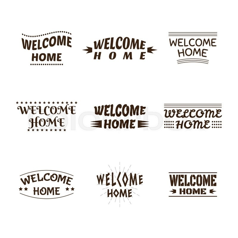 800x800 Welcome Home Design Collection. Set Of 9 Labels, Emblems, Stickers